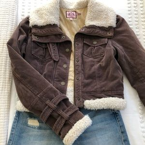 Juicy Couture Sherpa and Corduroy Cropped Jacket
